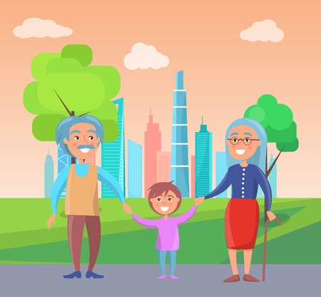Grandparents walk with grandson at background of skyscrapers and green trees vector illustration of grandfather and grandmother with boy toddles in park