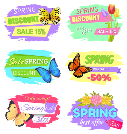 Spring discount sale 15 discount new offer big sale 50 only today best offer 30 off vector of promo advertisement labels with flowers and butterflies