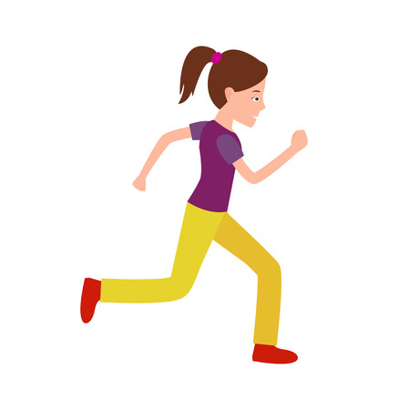 Girl jogging vector illustration. Teenager in sport apparel running, active healthy lifestyle teen on marathon isolated on white background, athlete jogger Illustration