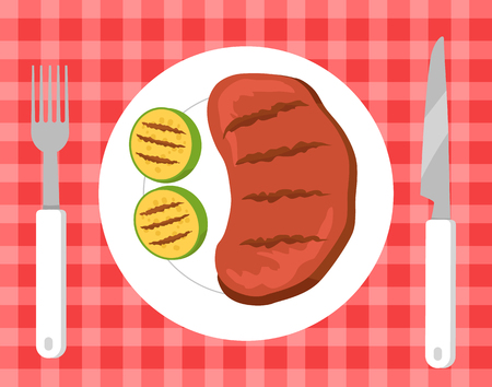 Steak and vegetables barbecue, tablecloth of symbolic color and squared print, beef on plate with fork and knife picnic isolated on vector illustration