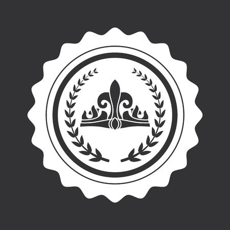 Corona y ramas de laurel en sello redondo negro