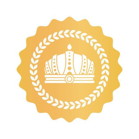 Gorgeous crown on gold royal approval sign. Emperors king hat inside laurel wreath on golden seal. Shiny approval sign isolated vector illustration.