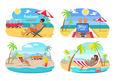 Freelance summer distant work, man and woman using laptop and enjoying sun and seaside view, set vector illustration isolated on white background