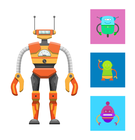 Cute humanoid robot, colorful vector illustration isolated on bright backdrop, cyborg with two antennas on head, claws hands, droids icons collection