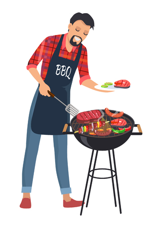 Barbecue and man with plate, smiling cook with meat and steaks, sausages and vegetables, BBQ vector illustration isolated on white background Illustration