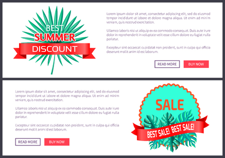 Best summer discount set of posters with push buttons, saw palmetto palm tree leaves, labels with green leaf on banner with place for text leaflet