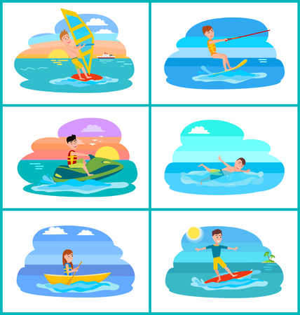 Rafting and summer sport set, collection of summer sports and people, sun and islands, clouds and water vector illustration isolated on white background