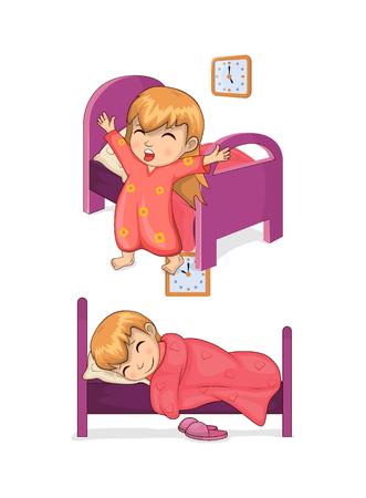 Slaaptijd en meisjesinzameling, ontwaken en in slaap vallen, bed met deken en klok, vectorillustratie die op witte achtergrond wordt geïsoleerd