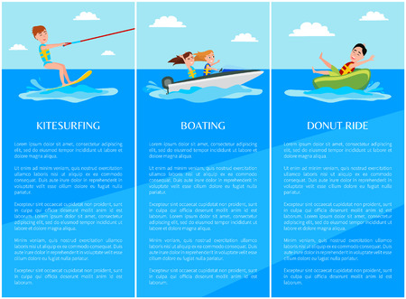 Kitesurfing and donut ride, water sport boating and people having fun, posters with text sample and headlines water sport, set vector illustration