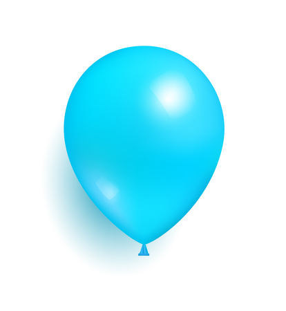 Blue toy balloon made of rubber realistic vector illustration isolated on white background. Birthday party decorative element, flying sphere with shadow Illustration
