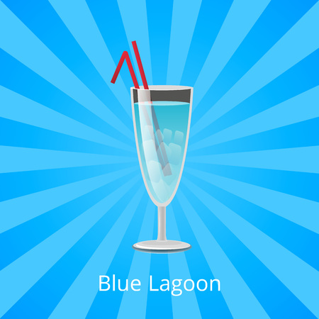 Blue Lagoon Drink with Two Straws, Cocktail Mint