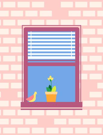 Open Window with Jalousie Bird Sitting on Sill