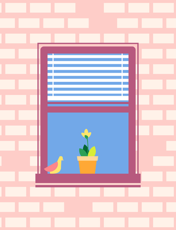 Open Window with Jalousie Bird Sitting on Sill