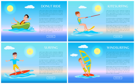 Donut Ride and Surfing Sport, Active Rest Banner Stock Photo - 104907467