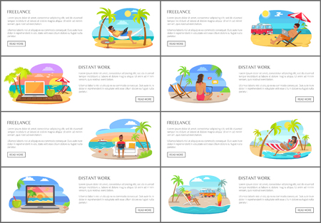 Freelance and distant work Internet banners set. Young people in swimwear relax on beach and work on laptop web pages templates vector illustrations.