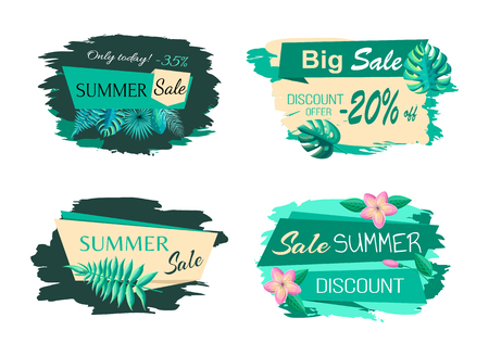 Exotic leaves on stickers, best discount summer sale blots, offer emblems vector big bundle. Set of promo labels tropical flowers and green blooming buds