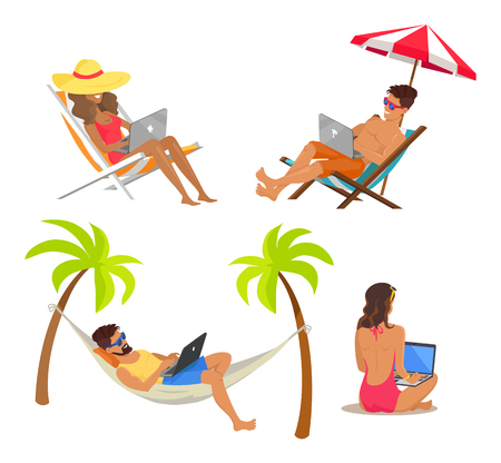 Joyful people work distant by laptops, freelance vector illustration successful men and women on summer rest working in internet freelancers isolated