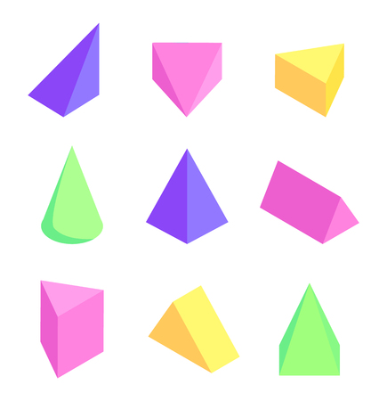 Geometric prisms set, colorful vector illustration with triangular pattern, cone and square pyramid, tetrahedron shape isometric view on color figures