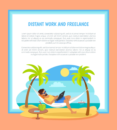 Distant Work and Freelance Poster Freelancer Man