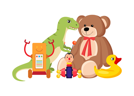 Teddy Bear and Dinosaur Set Vector Illustration Standard-Bild - 104786814