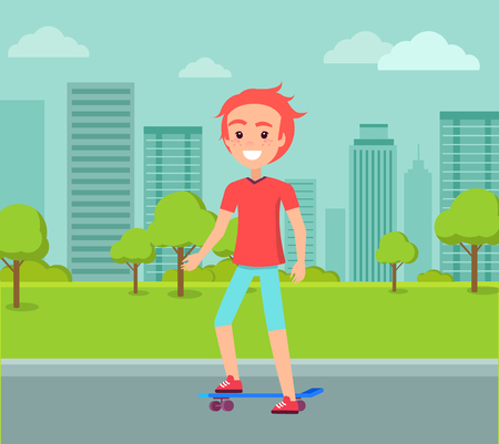 Redhead Skateboarder Ride on Skate Vector Male