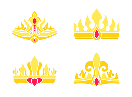 Heraldic Royal Symbols of Power. Gorgeous Crowns Stock Photo