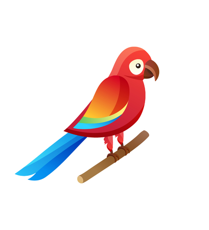 Parrot at Pet Shop Sitting Vector Illustration Banco de Imagens