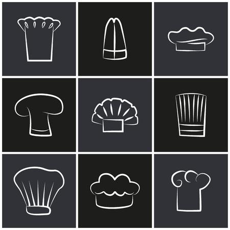 Variety Chef Hats, Set of White Cook Headwear Logo