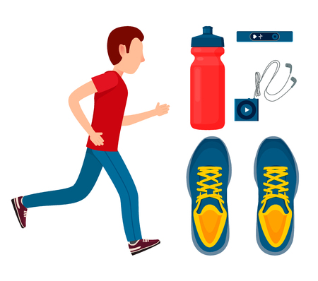 Running man and sport equipment colorful poster, vector illustration, bottle and sneakers, small music player with headphones, pulse checking device