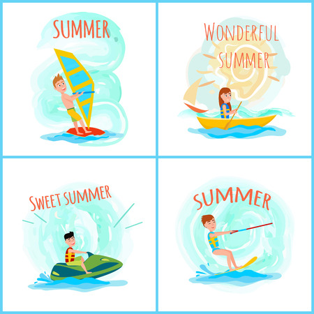 Sweet wonderful summer, color vector illustration, windsurfing and kitesurfing sports, cheerful girl rowing in boat and man on jet ski water sport