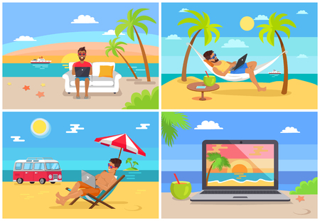 Freelance work and summer rest sunny sea side vector illustration working on beach freelancers image of laptop with beautiful landscape concept Illustration