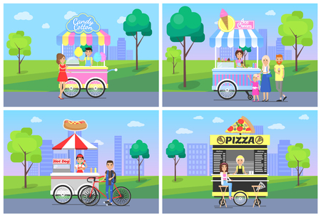 Cheerful clients near street food shops in park vector illustration with pizza and hot dog kiosks, candy cotton and ice cream vans tasty snacks