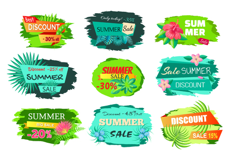 Set of colorful discount emblems off summer sale advertisement labels with gentle flowers, promo stickers design, sale tag emblems info about sales