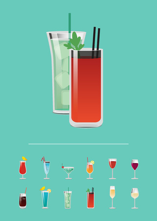 Set of cocktails with menu great choice of alcohol drinks, closeup of bloody mary and mojito with mint, decorated by straws vector illustration on blue