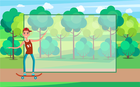 Teenager skateboarding vector of young man on skate, skateboarder in t-shirt and jeans in green park add info in filling form, go skateboarding day Иллюстрация
