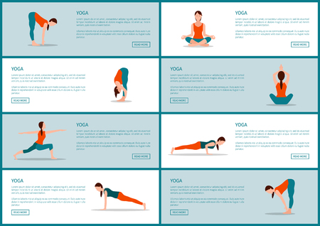 Yoga exercises web pages with text sample and headline, lotus and lunges, set of sites and yoga poses, vector illustration isolated on white and grey