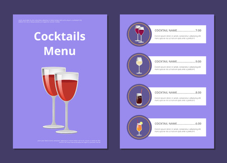 Cocktails menu cover design list of drinks prices and ingredients, choose refreshing alcohol beverage, bar card with restaurant choice vector illustration Çizim