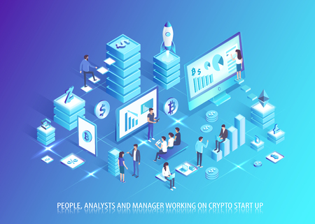 Analysts and managers work on crypto startup. People plan business based on cryptocurrency. Communication development in IT domain vector illustration.