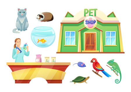 Pet Shop Animals and Girl at Check-Out Counter Illustration
