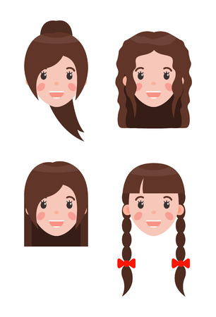 Woman and hairstyle set braids decorated with bows and curly hairstyle, ponytail and cheerful girl, construction vector illustration isolated on white