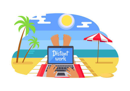 Freelancer with Distant Work on Tropical Beach
