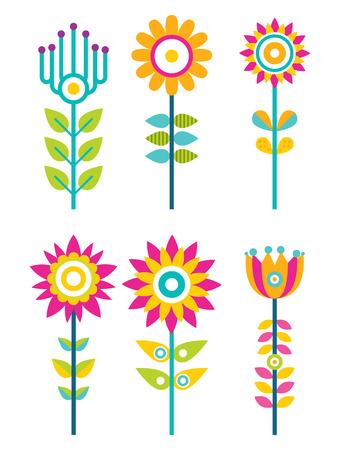 Wild Field Flowers in Colorful Ornamental Design