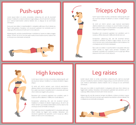 Push Ups and Triceps Chop Vector Illustration Reklamní fotografie