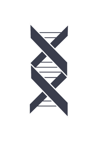 DNA deoxyribonucleic acid chain logo design in black and white colors, logotype of nucleotides carrying genetic instructions vector illustration isolated