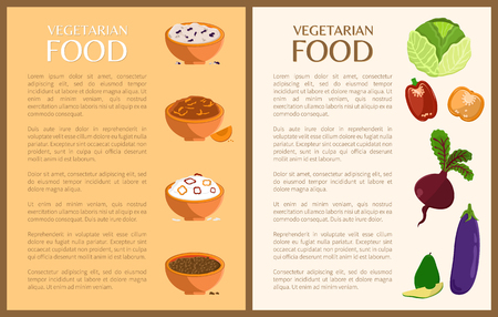 Vegetarian food posters set with plates and pooridges, vegetables and text sample, vegetarian food collection vector illustration isolated on white
