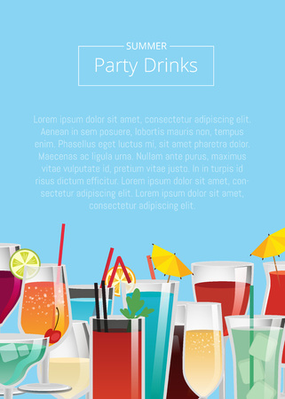 Party drinks various cocktails set of beverages with orange juice, blue lagoon, bloody mary, vodka cola, red and white wine and champagne vector poster