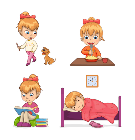 Child collection of activities, walking dog and strolling, reading and sleeping, eating meal, set vector illustration isolated on white background