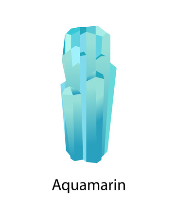 Aquamarin and blue or cyan variety of beryl mineral composed of beryllium aluminium cyclosilicate. Vector illustration isolated on white