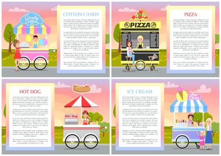 Soportes de helado y hot dog de pizza de algodón de azúcar ilustración vectorial con lindas camionetas de tienda móvil de comida rápida en la calle, varias etiquetas en las campanas de los puestos