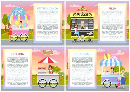 Cotton candy pizza hot dog and ice cream stands vector illustration with cute mobile shop vans of fast street food, various labels on stalls hoods